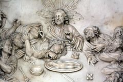 Last Supper. Altar of the Last Supper in Zagreb cathedral dedicated to the Assumption of Mary Stock Photography