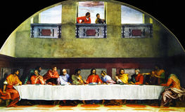 Last Supper. Andrea Del Sarto - The Last Supper (1520-25) - Convent of San Salvi, Florence stock images