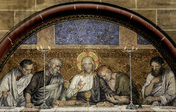 Last Supper of Christ. This photograph represent an mosaic of the Last Supper of Chris from Bremen Cathedral (Bremer Dom or St. Petri Dom zu Bremen Stock Images