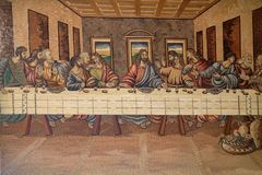 The Last Supper of Christ and the Disciples. Church of Holy Trinity in Klenovnik, Croatia Stock Photo
