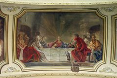 Last Supper. The Last Supper fresco in the church Royalty Free Stock Image