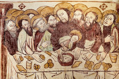 The last supper gothic fresco royalty free stock images