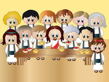 Last Supper of Jesus. Illustration of the Last Supper of Jesus with the twelve disciples Stock Images