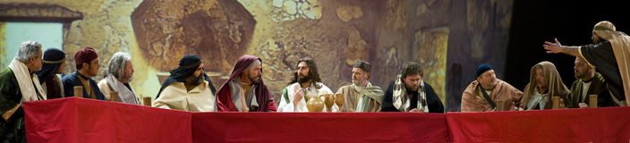 Last Supper of Jesus. The scene of the Last Supper of commemoration of the Passion of Christ, which is held in Bracciano near Rome every year during Easter royalty free stock images