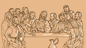 Last supper Jesus Christ  apostle. Illustration of the last supper of Jesus Christ the savior and his disciples Stock Photos