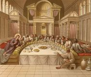 The Last Supper. Jesus Christ with the apostles. Stock Photo