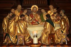 Last Supper with Jesus at the table and apostles Royalty Free Stock Image