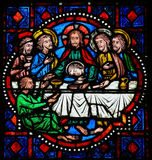 Last Supper on Maundy Thursday - Stained Glass in Tours. Stained glass window depicting Jesus and the Apostles at the Last Supper on Maundy Thursday in the Stock Photos