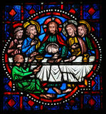 Last Supper on Maundy Thursday - Stained Glass in Tours Stock Photo