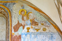The last supper, a medieval fresco in blue Royalty Free Stock Photography