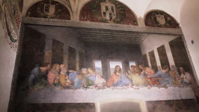 Last Supper Milan. Milan, Italy - November 15, 2016: The Last Supper mural painting, masterpiece of Leonardo da Vinci showing last dinner of Jesus and Twelve stock video