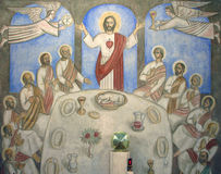 Last Supper. The Last Supper painting at the church altar stock photo