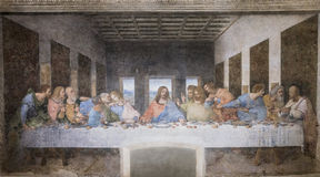 Last Supper painting. The Last Supper mural painting by Leonardo da Vinci from Renaissance, late 1490s after restoration. shows Jesus and his twelve apostles on stock photography