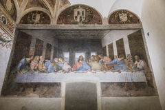Last Supper painting. The Last Supper mural painting by Leonardo da Vinci from Renaissance, late 1490s after restoration. shows Jesus and his twelve apostles on royalty free stock image