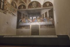 Last Supper painting. The Last Supper mural painting by Leonardo da Vinci from Renaissance, late 1490s after restoration. shows Jesus and his twelve apostles on Royalty Free Stock Photo