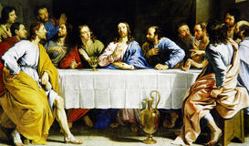The Last Supper. Philippe de Champaigne - The Last Supper (1648) - Museum Louvre, Paris stock photography