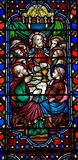 The Last Supper. A photo of a stained glass window of the Last Supper Royalty Free Stock Photo