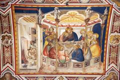 The last supper by Pietro Lorenzetti in Basilica of Saint Francis royalty free stock images