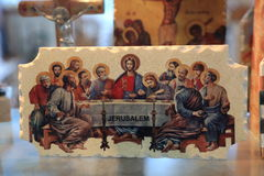 Last supper. The souvenir about the last supper in the tourist shop in Palestine stock image