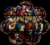 The Last Supper in stained glass. A photo of The Last Supper in stained glass Stock Images