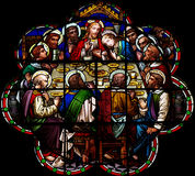 The Last Supper in stained glass. A photo of The Last Supper in stained glass stock photography