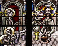 The last supper in stained glass. Stained glass window The last supper, with Jesus royalty free stock photos
