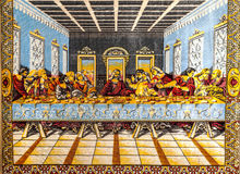 The Last Supper. Tapestry depicting the Last Supper of Jesus Christ stock photos