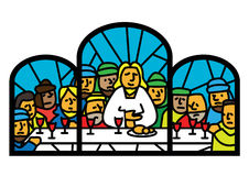 Last supper  window. Stylized  illustration of last supper window Stock Photos