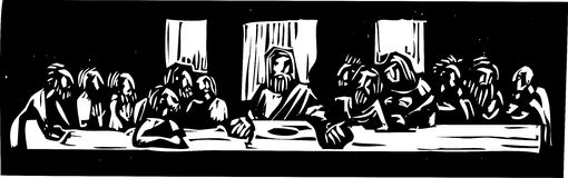 Last Supper Woodcut. Woodcut style image of Jesus at the last supper after Leonardo Da Vinci Stock Photos