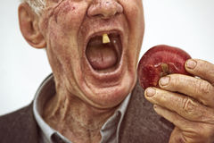 Last Teeth. Senior man have a last teeth dental problems stock image