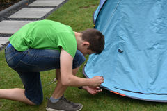 Last tent peg. Teenage boy puts  in tent pegs. Fixing the tent on the ground Royalty Free Stock Image