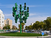 The last traffic light in Eilat, Israel Stock Photo