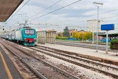 Last train on railroad station Stock Photos