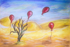 The last tree. Last tree in the desert drought balloons hope dry pastel drawing
