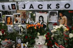Last tribute to Michael Jackson. Moscow Stock Photos