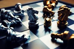 Last two knights stand against each other, fighting for the crown. Business competitive concept. Copy space. Last two knights stand against each other, fighting royalty free stock photo