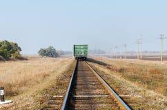 Last wagon on railroad Stock Photo