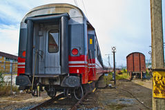 Last wagon of the train. Picture is shot when the train rolls out from halden railroad station Stock Photos