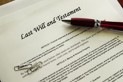 Last will. And Testament legal documents  with misc items Royalty Free Stock Photo