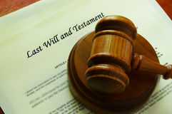 Last will. Legal gavel on a will (legal documents royalty free stock photos