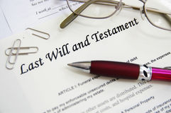 Last Will. And Testament documents, with pen etc. Death, inheritance,  or funeral concept Stock Image