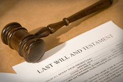 Last will. And testament form with gavel, shallow dof royalty free stock image