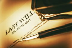Last Will Concept. Photo. Last Will Testament, Ink Bottle and Fountain Pen Concept Stock Image