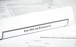 Last Will and Health Care Directive with Pen Stock Image