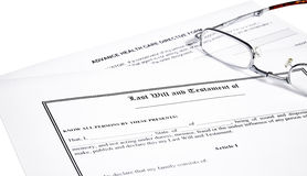 Last Will Medical Directive and Glasses Stock Photo