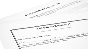 Last Will Medical Directive Inheritance Tax Form Stock Photos