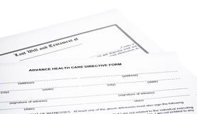 Last Will Medical Directive Tax Form Royalty Free Stock Photo