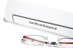 Last Will and Reading Glasses Royalty Free Stock Image