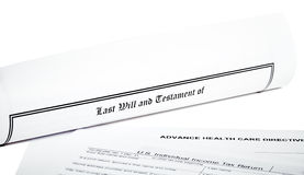 Last Will with Tax Return and Health Care Directive Stock Photo