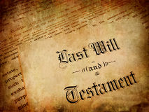 Last Will and Testament. Envelope with Last Will and Testament stock photography